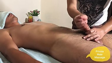 Tall and big cock Japanese guy getting hard while massage