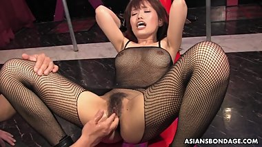 Yui Shimizu is moaning while getting both holes gently fingered