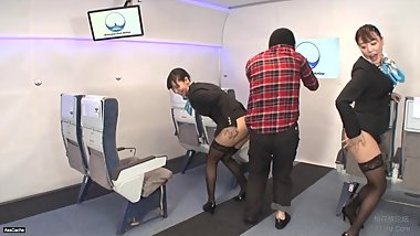 Japanese Stewardesses Stop Hijacker with their Asses - AssCache Highlights
