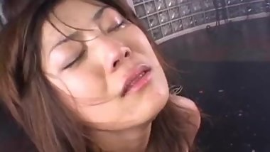 Jap whore Hitomi got spanked, pissed, cumshot to cry
