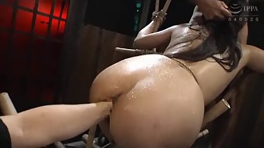 Sweaty Jap whore Hara got fisted and face fuck at the same time