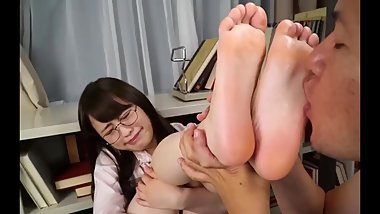 Japanese Teacher Gets Feet Worshipped in Class