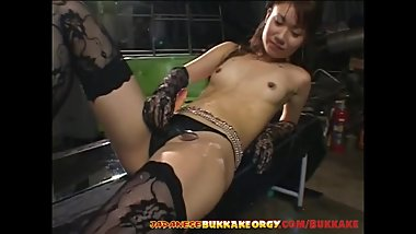 Classy Japanese babe gets covered with cum - Japanese Bukkake Orgy
