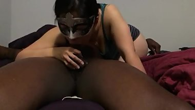 Beautiful Asian girl deepthroats BBC + throatpie