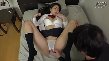 Japanese schoolgirl seduces guy to fuck her in white cotton panties