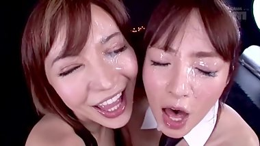 Double Cute face blowjob and facial