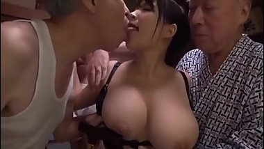 Busty Slut Gangbanged by Old Men to Creampie and Cum on Tits