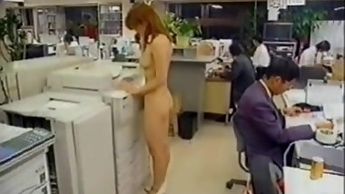 japanese naked girl working in office