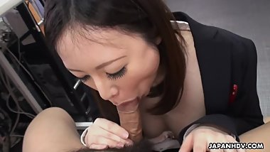 Cute brunette Ritsuko Tachibana swallows a boner in the office