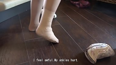 Japanese girl sprained ankle in bandage and heels