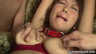 Bound babe toyed and molested by a bunch of perverts