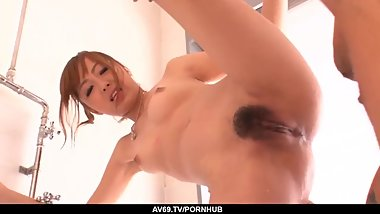 Real Japanese home romance with hairy Anri Hoshiza - More at 69avs.com