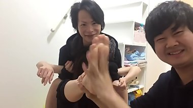 Japanese Girl Gets Feet Tickled By 2 Guys With Lotion