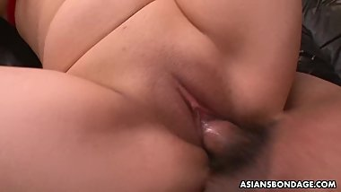 Submissive Asian babe with big natural tits loves being gangbanged