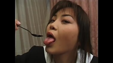 Japanese high school girls swallowing sperm with a spoon