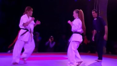 Skilled Japanese Girl Fights in Karate Match
