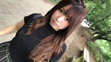 WHO IS THIS Beautiful Japanese Girl Walking through Park Pantyshot