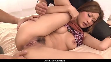 Aika sucks them both before enjoying a good trio - More at 69avs.com