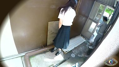 Schoolgirl has fun with herself outside