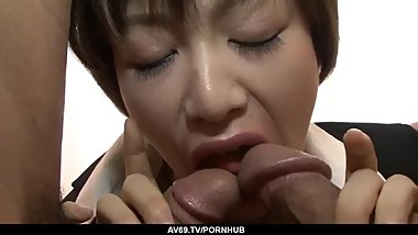 Akina Hara shows proper blowjob before fucked hard - More at 69avs.com