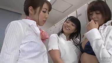 Japanese lesbian threesome get Strapon at office (HD)