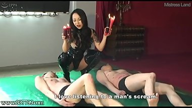 Japanese Dominatrix Youko MMF Threesome Cunnilingus Whipping Hotwax