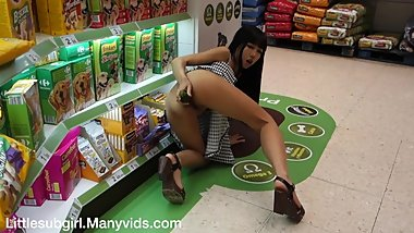 Fucks Cucumber and Squirting in Public Supermarket - Littlesubgirl
