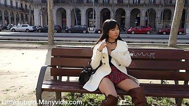 Public Flashing and Masturbation in Crowded City - Littlesubgirl