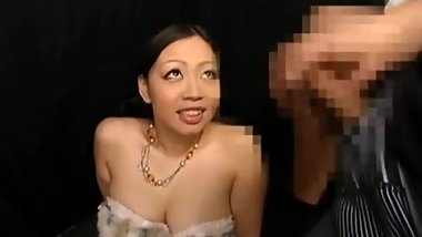 Japanese girl watches guy jerk off up close