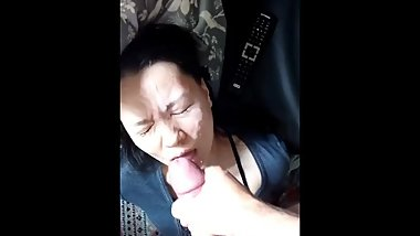 HUGE cumshot facial on Japanese face after deepthroat