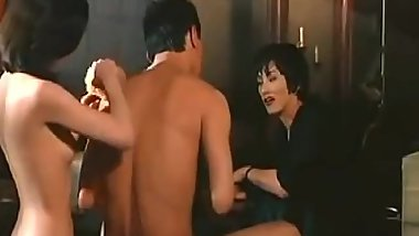Japanese ninja bathing threesome