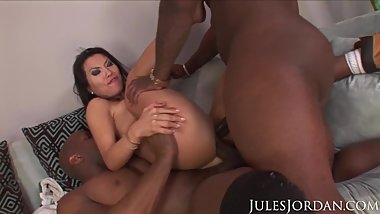 Jules Jordan - Asa Akira Interracial DP Ass Stretched Open