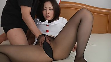 Japanese milf in nurse uniform and pantyhose uncensored