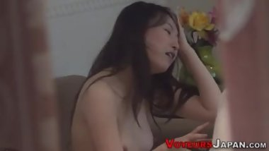 Fingered asian rides cock