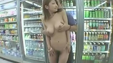 Curvy Japanese Woman in Liquor Store