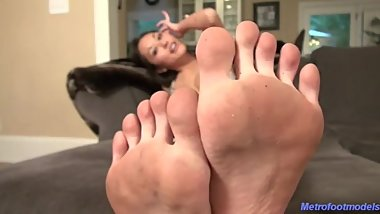 Playful Japanese girl feet and soles