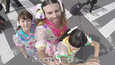 Beard guy having fun with two cute japanese girls