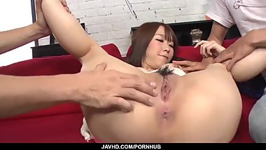 Amateur group sex with sensual Hitomi Oki - More at javhd.net