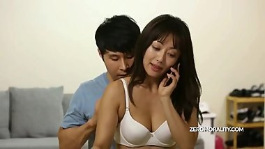 Innocent Korean girl fucked while tried to make a phone call and wife swap