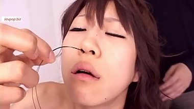 Japanese girl's uvula torturing 3 with string