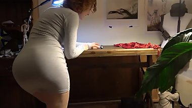 Hot & sexy redhead MILF is so sensual & erotic in her sexy tight minidress!