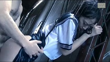 Beautiful school girl being fucked in the rain