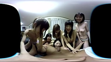 Surrounded by beautiful japanese women