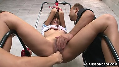 Tied up Asian sweety gets toyed by the camera dildo