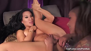 Asa Akira and friend have fun with dildo