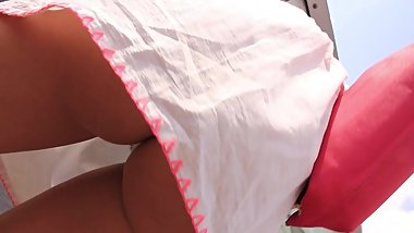 Hidden cam sexy blonde MILF in too short minidress bends over ass exposure!