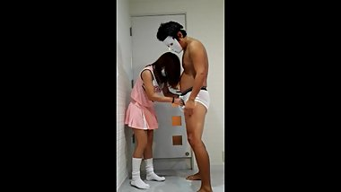 Asian young girl ballbusting
